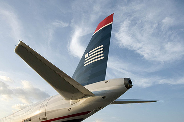 Empennage d'un Airbus A320 de US Airways