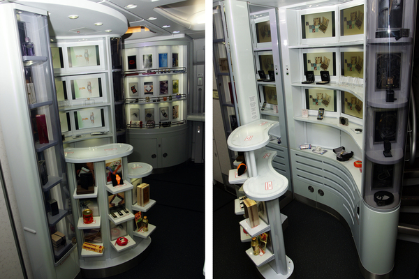 Boutique Duty Free dans la cabine de l'A380 de Korean Air