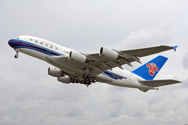 Le premier airbus A380 China Southern Airlines rentre en phase final d'essais