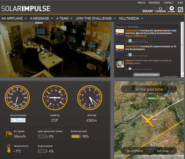 Solar Impulse vol en direct