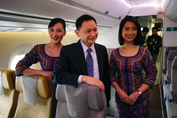 Gho Choon Phong dans l'Airbus A350 de Singapore Airlines