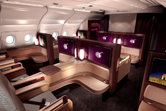 first class Airbus A380 Qatar Airways