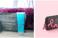 Qatar Airways : Trousse de toilette Octobre rose